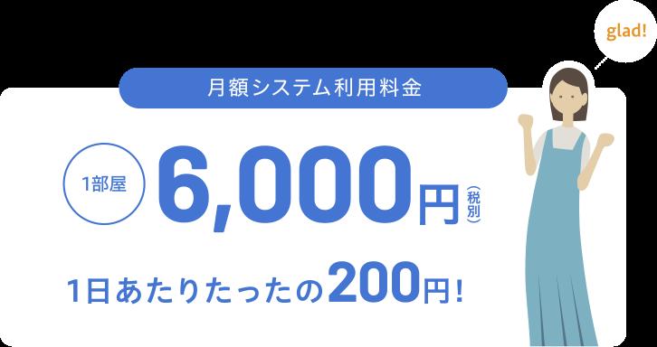 月額システム利用料金 1部屋 3,000円 1日あたりたったの100円!